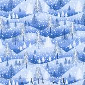 Santa's Little Helpers - Trees Blue Yardage