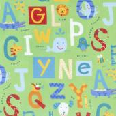 Alphabet Soup Flannel - Alphabet Feature Green Multi Yardage