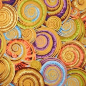 Kaffe Collective - Spicy Palette Spiral Shells Gold Yardage