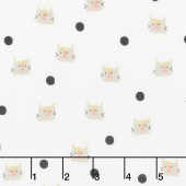 Meow and Forever - Cat Dots White Yardage