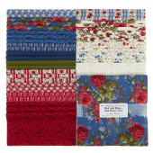"Red & Blue...and Roses Too! 10"" Squares"