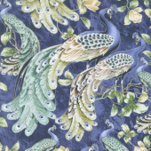Feathered Peacock - All Over Peacock Pacific Metallic Yardage