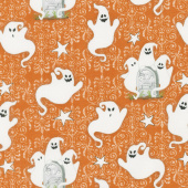 Ghostly Glow Town - Ghosts Allover Orange Glow in the Dark Yardage