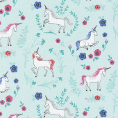 My Unicorn - Garden Teal with Sparkle Yardage
