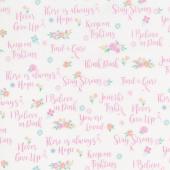 I Believe in Pink - I Believe In Pink White Yardage