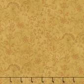 Plant Kindness - Stitched Flower Stripe Gold Yardage