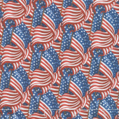 Live Free - Packed Flags Blue Yardage
