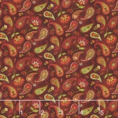 Pumpkin Patch - Country Paisley Red Yardage