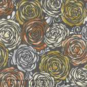 Shiny Objects - Precious Metals Candied Roses Radiant Rose Gold with Black Glitter Yardage