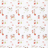 December Magic - Scenic Snowman Ecru Yardage