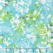Blossom Batiks - Splash Daisies Turquoise Yardage