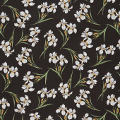 Magnificent Blooms - Iris Black Multi Yardage