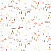 Coast to Coast - Shore to Shore Landmarks White Digitally Printed Yardage
