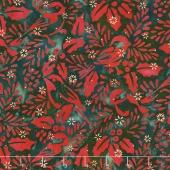 Artisan Batiks - Northwoods 6 Holly Berry Chickadees Holiday Metallic Yardage