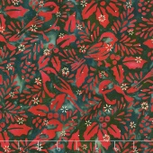 Artisan Batiks - Northwoods 6 Holly Berry Chickadees Holiday Metallic Yardage