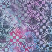 Bloomers Batiks - Check Sunflower Mystic Berry Yardage