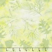 Pastel Parfait Batiks - Leaf Sprigs Chartreuse Green Yardage