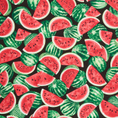 One in a Melon - Packed Watermelons Black Yardage
