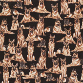 Dogs - German Shepherds Black Yardage