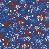 Patriotic Parade - Fireworks Dark Blue Yardage