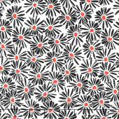 Red Alert - Daisies White Yardage