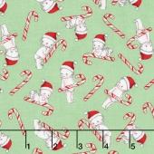 Kewpie Christmas - Christmas Candy Cane Green Yardage