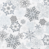 Holiday Flourish 11 - Silver Snowflakes Frost Metallic Yardage