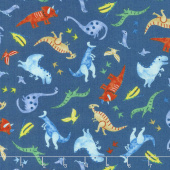 Hear Me Roar! - Tossed Dinosaurs Navy Yardage