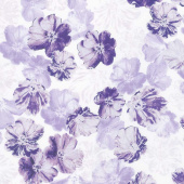 Violet Twilight - Shimmery Blossoms White Pearlized Yardage