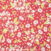 Coney Island - Daisy Blooms Candy Apple Red Yardage