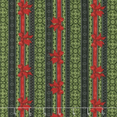 Festive Forest - Ticking Stripe Green Yardage