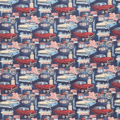 Route 66 - Cars and Motorcycles Navy Multi Digitally Printed Yardage