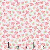 Pink Garden - Small Floral Teal Yardage