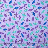 Rainy Day - Raining Umbrellas Pouring Purple Yardage