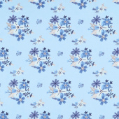 Blue Stitch - Floral Sky Yardage