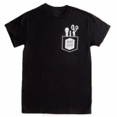 Man Sewing Pocket Tools Black T-Shirt - Medium