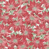 Noel - Poinsettias Red Metallic Yardage