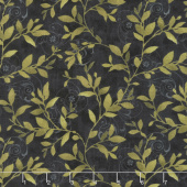 Scarlet Dance - Leaves Allover Black Yardage