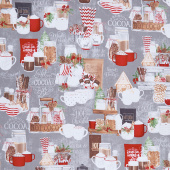 Hot Cocoa Bar - Large Allover Gray Yardage