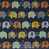 Baby Jungle - Elephants Blue Yardage