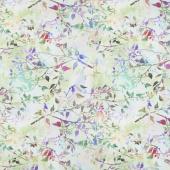 Garden of Dreams - Birds Spring Green Digitally Printed Yardage