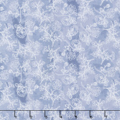 Midnight Rose - Rose Stems Blue Yardage