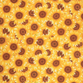 Sunny Sunflowers - Packed Sunflowers Yellow Yardage
