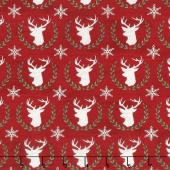 Hearthside Holiday - Laurel Deer Berry Red Yardage