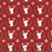 Hearthside Holiday - Laurel Deer Berry Red Yardage