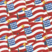 America the Beautiful - Packed Flags Red Multi Yardage