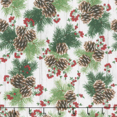 I'll be Home for Christmas - Hanging Pinecones and Berries Multi Yardage