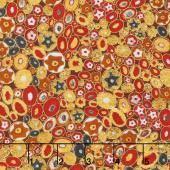 Gustav Klimt - Stones Ovals Red Metallic Yardage