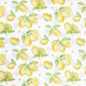 Just Lemons - Large Tossed Lemons White Yellow Blue Yardage