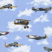 Air Show - Antique Planes Blue Yardage